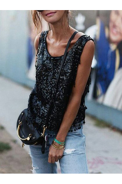 Casual Round Collar Sequined Fringe T-Shirt
