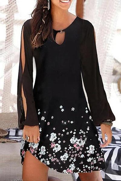 Floral Print Long Sleeve Off Shoulder Mini Dress