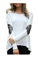 Fascinating Paillette Asymmetrical Hems Long-Sleeve-T-Shirt
