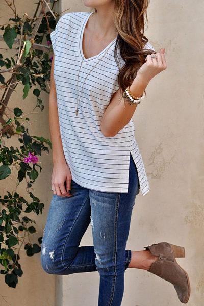 V Neck  Slit  Striped T-Shirts