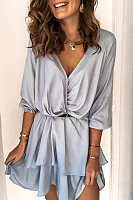V Neck Ruffle Plain Casual Dress