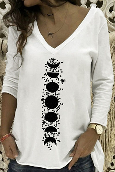 Casual V Neck Printed Long Sleeve T-Shirt