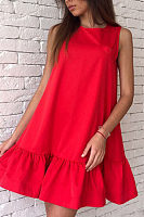 Round Neck  Flounce  Plain  Sleeveless Casual Dresses