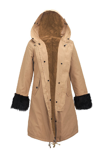 Patchwork Single Breasted With Pockets Trendy Hooded Overcoats