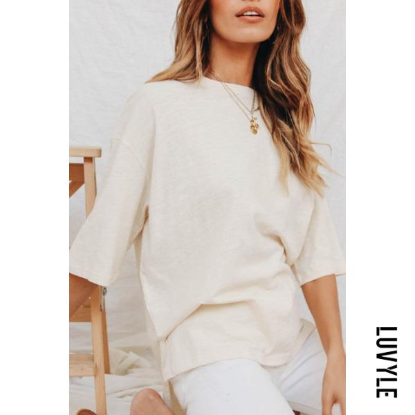 Beige Round Neck Asymmetric Hem Plain T-Shirts Beige Round Neck Asymmetric Hem Plain T-Shirts