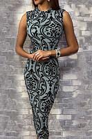 Round Neck  Leopard Printed  Sleeveless Bodycon Dresses