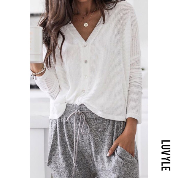 V Neck Single Breasted Casual Cardigan - from $25.00