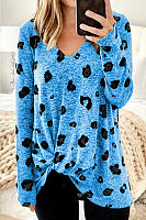 V Neck Leopard Casual T-Shirt