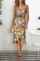 Spaghetti Strap  Printed  Sleeveless Maxi Dresses
