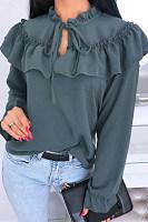 Fashion Funky Lace Up Long Sleeve Shirt
