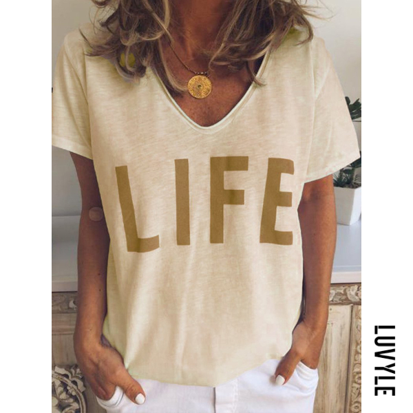 Yellow V Neck Letters Printed Basic T-Shirts Yellow V Neck Letters Printed Basic T-Shirts