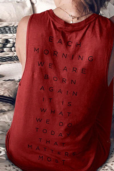 Round Neck  Letters Camis