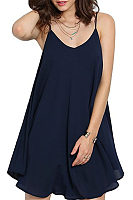 Spaghetti Strap  Asymmetric Hem Backless  Plain  Sleeveless Casual Dresses
