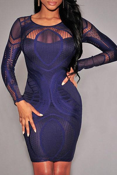 Round Neck  Patchwork Zipper  Long Sleeve Bodycon Dresses