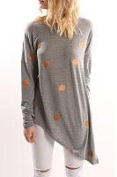 Round Neck  Asymmetric Hem  Dot T-Shirts