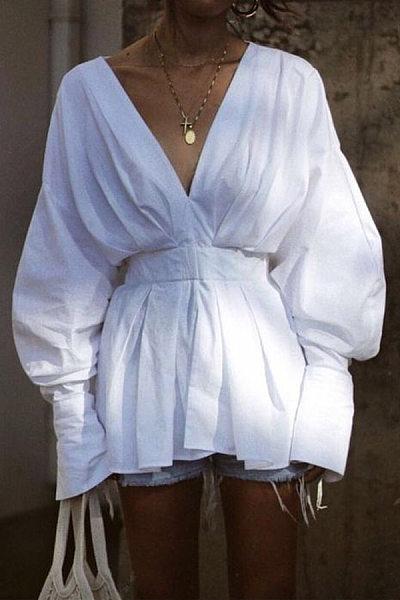 V Neck Plain Shoulder Sleeve Casual Shirt
