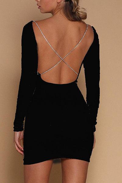 Asymmetric Neck  Backless  Plain  Long Sleeve Bodycon Dresses
