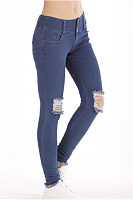 Sheath  Plain  Basic  Jeans