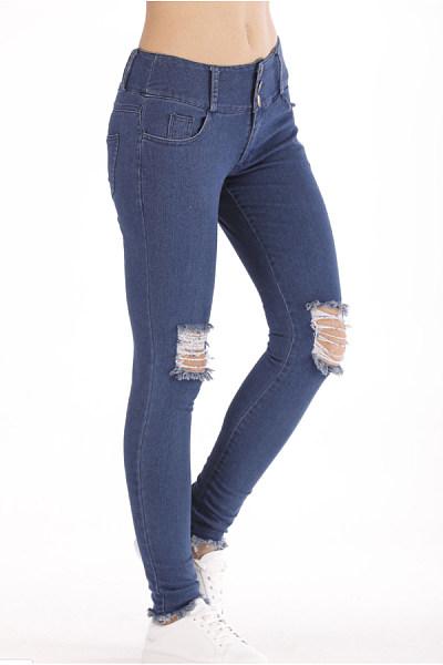 Sheath  Plain  Basic  Jeans