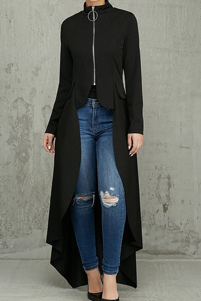 Band Collar  Asymmetric Hem Zipper  Plain Jackets