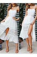 Sling Stitching Open Back Bow Dress