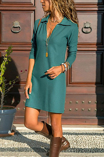 A Lapel Long Sleeve Plain Casual Dress