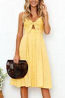 Spaghetti Strap  Single Breasted  Bust Darts  Plain  Sleeveless Maxi Dresses