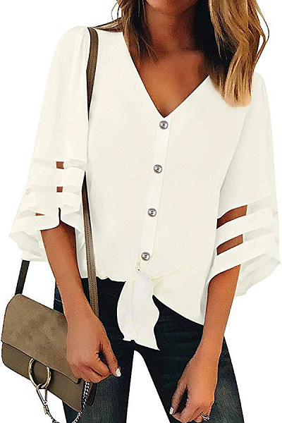 V Neck Half Sleeve Button Chic Blouses