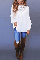 High Neck  Patchwork Plain  Blouses