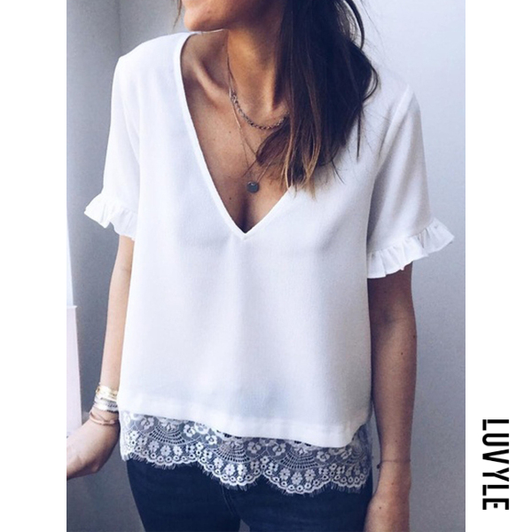 White V Neck Short Sleeve Lace Patchwork T-Shirts White V Neck Short Sleeve Lace Patchwork T-Shirts