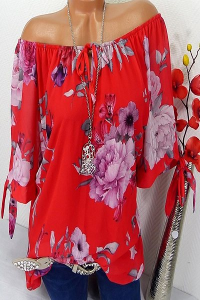 Summer Casual Printed Colour Round Neck Short Sleeve Loose Blouse
