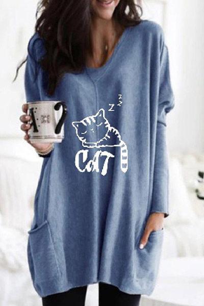 V Neck Pockets Cat Casual T-shirt