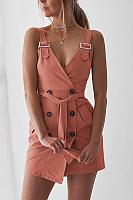 Spaghetti Strap  Decorative Buttons  Plain  Sleeveless Bodycon Dresses