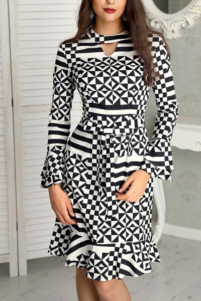 Women Geometric Skater Dresses