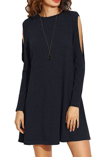 Round Neck  Cutout  Plain Casual Dresses