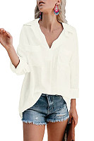 Casual Solid Color Fold Collar Double Patch Pocket Long Sleeve Shirt