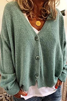Simple Solid Color V-Neck Drop-Shoulder Sleeve Knit Cardigan