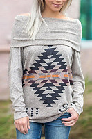 Off Shoulder  Abstract Print  Sweatshirts