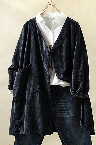 Leisure Pure Color V Collar Long Sleeve Corduroy Overcoat