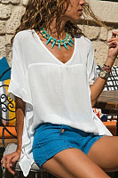 Fashion V-Neck Bat Sleeves Solid Color Stitching T-Shirt