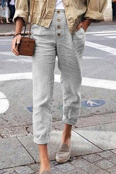 Vintage Decorative Buttons Solid Pants