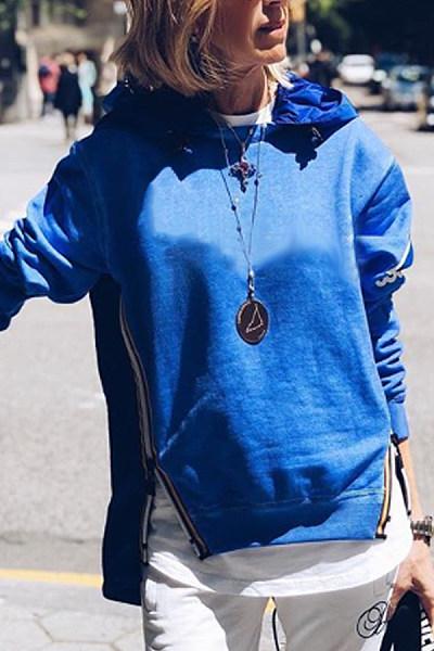 Casual Solid Color Splicing Zipper Hoodie