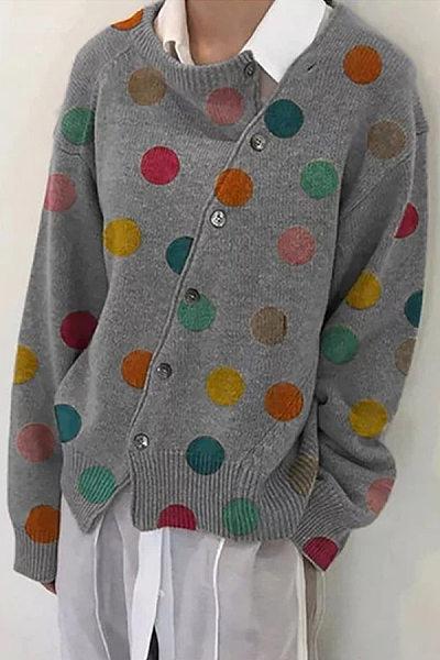 Diagonal Buttons Polka Dot Knit Outerwear