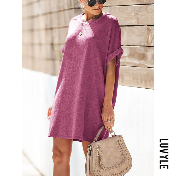 Purple Round Neck Loose Fitting Casual Dresses Purple Round Neck Loose Fitting Casual Dresses