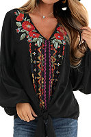 V Neck Embroidery Long Sleeve Blouse