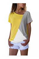 Round Neck Color Block Short Sleeve Casual T-Shirts