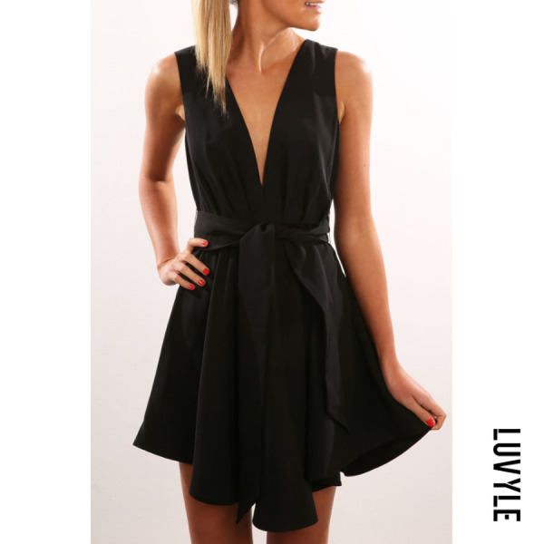 Black Deep V Neck Backless Belt Plain Sleeveless Skater Dresses Black Deep V Neck Backless Belt Plain Sleeveless Skater Dresses