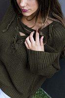 Asymmetric Neck  Drawstring  Plain Sweaters