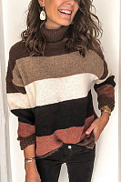 Women's High Collar Colouring Striped Sweater