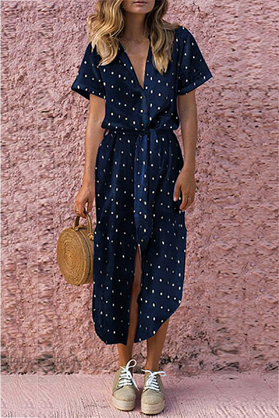 Sexy Wave Point V Neck Short Sleeves Casual Dress
